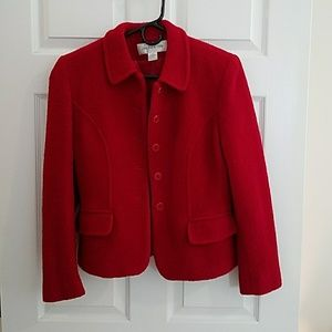 Red Wool Blend Blazer